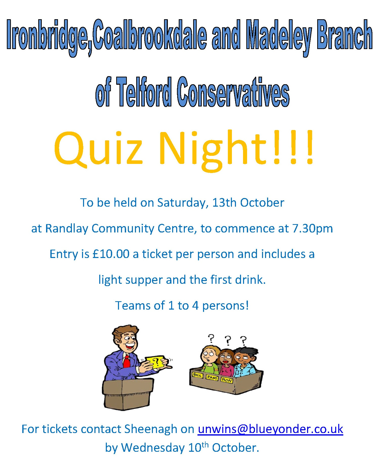 Quiz night details. For more info please email office@telfordconservatives.com